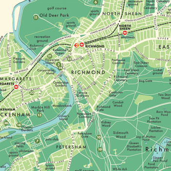 Richmond Upon Thames Retro Map Print detail 09 by Mike Hall at Of Cabbages and Kings.
