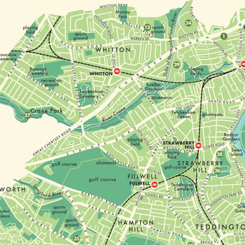 Richmond Upon Thames Retro Map Print detail 08 by Mike Hall at Of Cabbages and Kings.