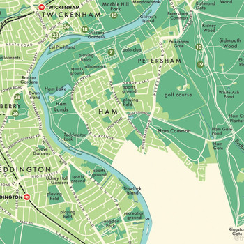 Richmond Upon Thames Retro Map Print detail 10 by Mike Hall at Of Cabbages and Kings.