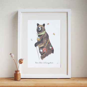 Here, Bear & Everywhere print framed by Mister Peebles at Of Cabbages and Kings.