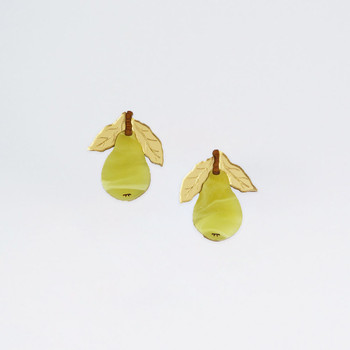 Mini Pear Studs by Wolf and Moon at Of Cabbages and Kings