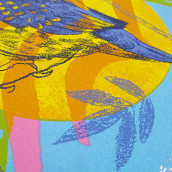 Common Kingfisher screen print tail detail by Melissa North at Of Cabbages and Kings