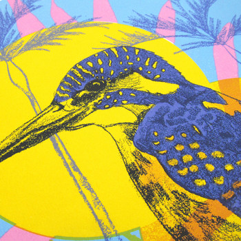 Common Kingfisher screen print head detail by Melissa North at Of Cabbages and Kings