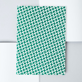A5 Plain Layflat Notebook - Victor Print, Green 01 by Ola at Of Cabbages and Kings