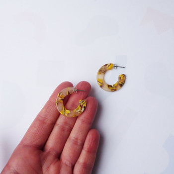 Mella Mini Hoop Earrings Honey Mix size By Custom Made at Of Cabbages and Kings
