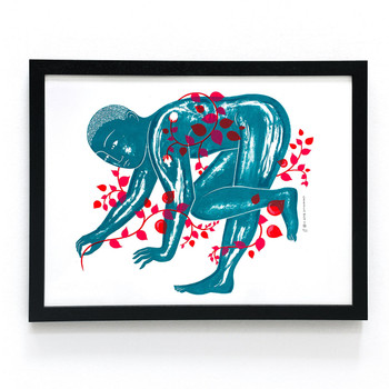 Garden Man II screen print framed by Tom Berry at Of Cabbages and Kings