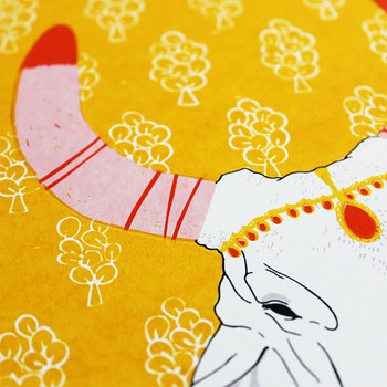 Jungle Cow screen print detail 01 by Claudia Borfiga available at Of Cabbages and Kings.