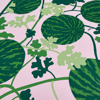 Watermelon Vine screen print detail 01 by Claudia Borfiga at Of Cabbages and Kings