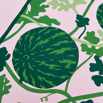 Watermelon Vine screen print detail 02 by Claudia Borfiga at Of Cabbages and Kings
