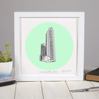 Shakespeare Tower screen print framed 01 by Will Clarke at Of Cabbage and Kings