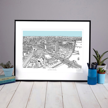 Southbank, London screen print framed 01 by Will Clarke at Of Cabbages and Kings