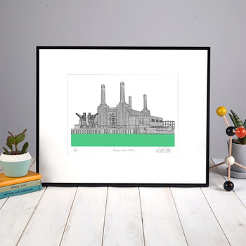 Battersea Power Station - Green screen print framed 01 by Will Clarke at Of Cabbages and Kings