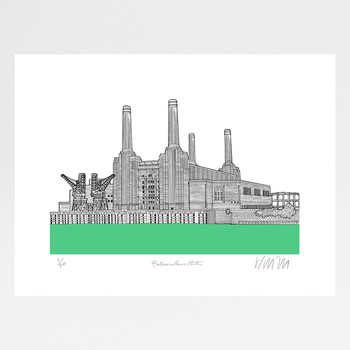 Battersea Power Station - Green screen print by Will Clarke at Of Cabbages and Kings