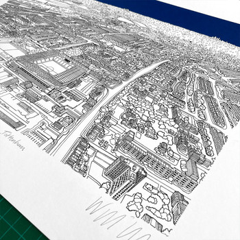 White Hart Lane Stadium, Tottenham screen print detail 01 by Will Clarke at Of Cabbages and Kings