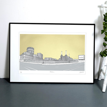 Battersea Panorama - Gold  framed screen print by Will Clarke at Of Cabbages and Kings