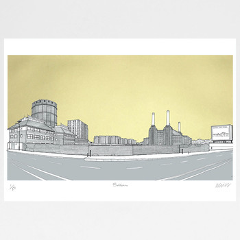 Battersea Panorama - Gold screen print by Will Clarke at Of Cabbages and Kings