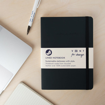 Recycled Leather Lined A5 Notebook - Charcoal Grey 02 by VENT at Of Cabbages and Kings