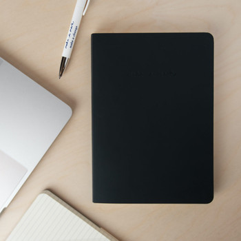 Recycled Leather Lined A5 Notebook - Charcoal Grey 03 by VENT at Of Cabbages and Kings