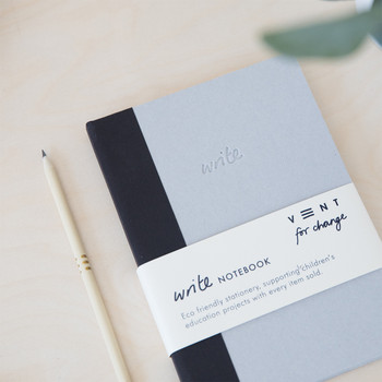 Sustainable Lined A5 Notebook - Black 01 by VENT at Of Cabbages and Kings
