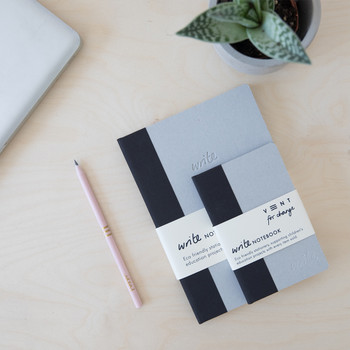 Sustainable Lined A5 Notebook - Black 02 by VENT at Of Cabbages and Kings