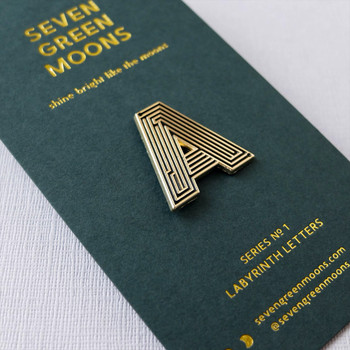 Labyrinth Letter Pin - A 01 by Seven Green Moons at Of Cabbages and Kings