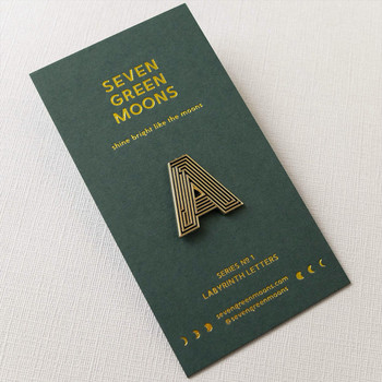 Labyrinth Letter Pin - A 03 by Seven Green Moons at Of Cabbages and Kings