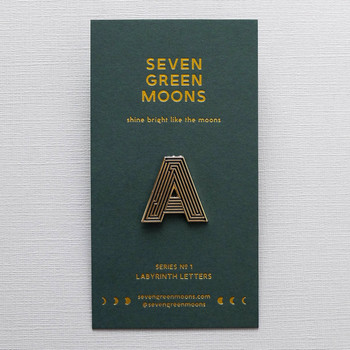 Labyrinth Letter Pin - A 05 by Seven Green Moons at Of Cabbages and Kings