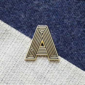 Labyrinth Letter Pin - A 02 by Seven Green Moons at Of Cabbages and Kings