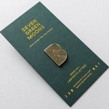 Labyrinth Letter Pin - B 01 by Seven Green Moons at Of Cabbages and Kings