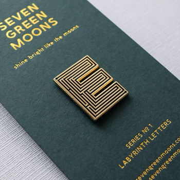 Labyrinth Letter Pin - E 01 by Seven Green Moons at Of Cabbages and Kings