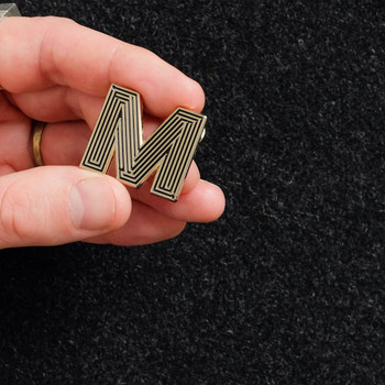Labyrinth Letter Pin - M 02 by Seven Green Moons at Of Cabbages and Kings