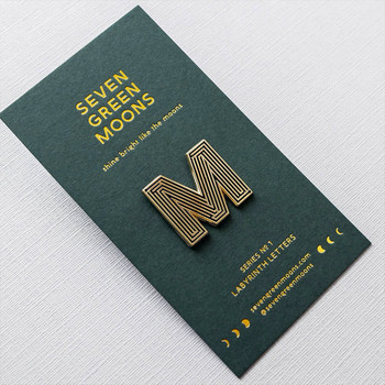 Labyrinth Letter Pin - M 01 by Seven Green Moons at Of Cabbages and Kings