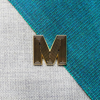 Labyrinth Letter Pin - M 03 by Seven Green Moons at Of Cabbages and Kings
