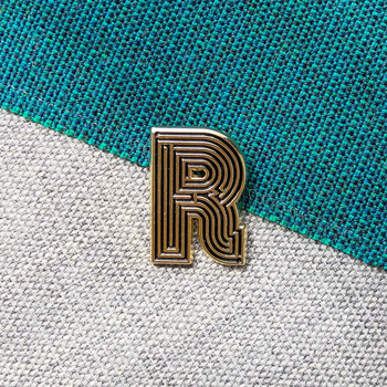 Labyrinth Letter Pin - R 02 by Seven Green Moons at Of Cabbages and Kings