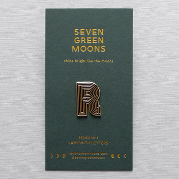 Labyrinth Letter Pin - R 03 by Seven Green Moons at Of Cabbages and Kings