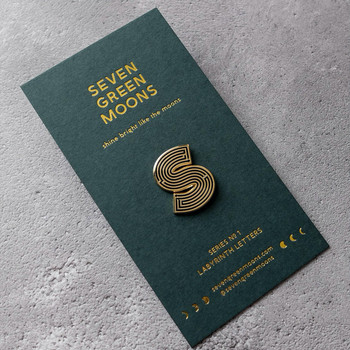 Labyrinth Letter Pin - S 01 by Seven Green Moons at Of Cabbages and Kings