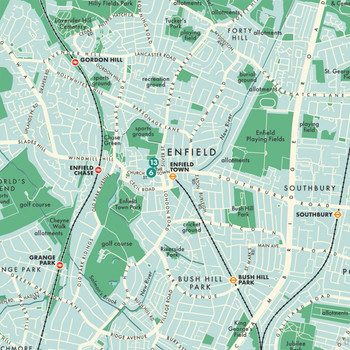 Enfield Retro Map Print detail 02 by Mike Hall at Of Cabbages and Kings.