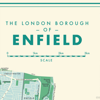 Enfield Retro Map Print detail 01 by Mike Hall at Of Cabbages and Kings.