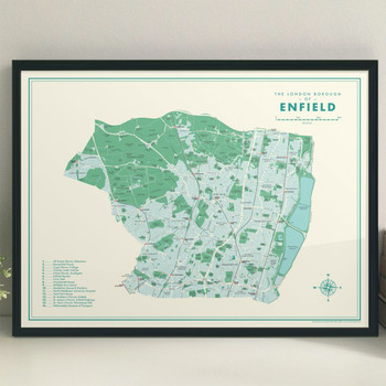 Enfield Retro Map framed Print by Mike Hall at Of Cabbages and Kings.