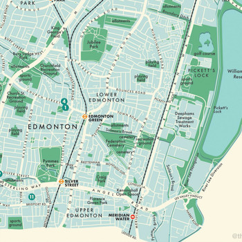 Enfield Retro Map Print detail 06 by Mike Hall at Of Cabbages and Kings.