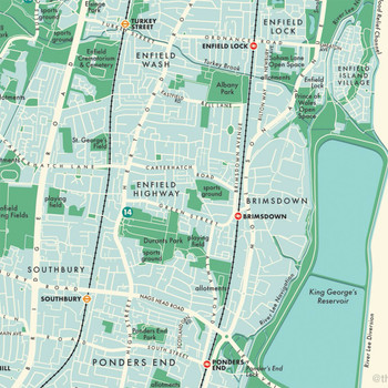 Enfield Retro Map Print detail 07 by Mike Hall at Of Cabbages and Kings.