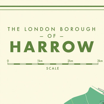 Harrow Retro Map Print detail 01 by Mike Hall at Of Cabbages and Kings.