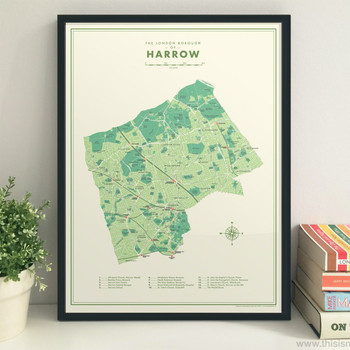 Harrow Retro Map Print framed by Mike Hall at Of Cabbages and Kings.