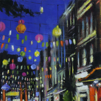 Chinatown at Night art print detail 03 by Marc Gooderham available at Of Cabbages and Kings.
