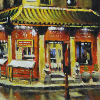 Chinatown at Night art print detail 04 by Marc Gooderham available at Of Cabbages and Kings.