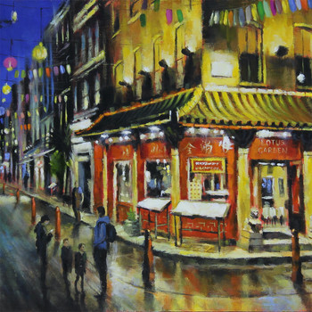 Chinatown at Night art print detail 02 by Marc Gooderham available at Of Cabbages and Kings.