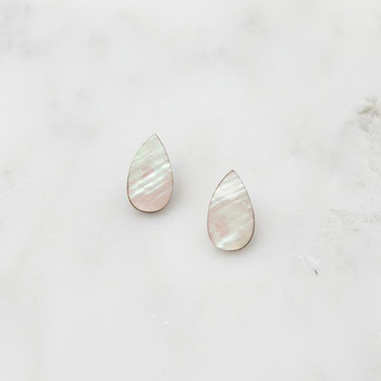 Raindrop Studs - Mother of Pearl detail 01 by Wolf and Moon at Of Cabbages and Kings
