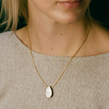 Raindrop Necklace - Mother of Pearl detail 03 by Wolf and Moon at Of Cabbages and Kings