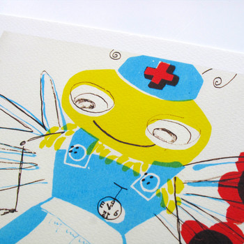 Bee Nurse print detail 01 by Factory Press at Of Cabbages and Kings