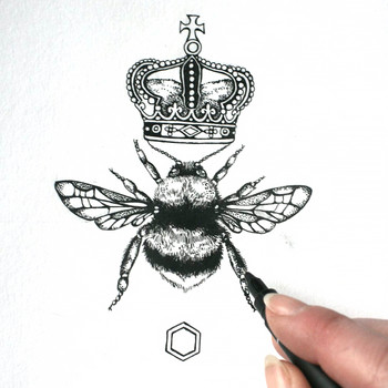 Queen Bee art print detail 03 by Emily Carter at Of Cabbages and Kings.